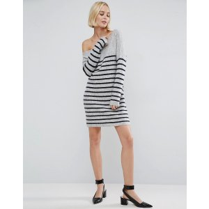 ASOS | ASOS Sweater Dress with Off Shoulder in Stripe