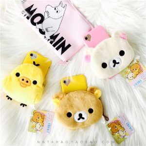 For iPhone 7 7s Plus 6 6S Plus Warm Plush Rilakkuma Bear Chick Wallet Phone Case | eBay