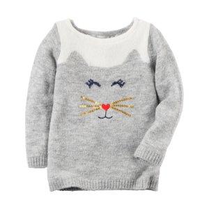 Toddler Girl Cat Sweater | Carters.com