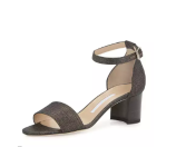 Manolo Blahnik Lauratomod Denim Ankle-Wrap Sandal, Metallic Wash Denim