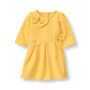 Marigold Pleated Ponte Dress at JanieandJack