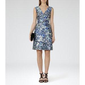 Allium Ice Blue/steel Blue Printed Dress - REISS