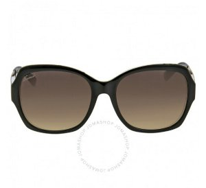 GUCCI Oversize Asia Fit Black Crystal Gold Ladies Sunglasses