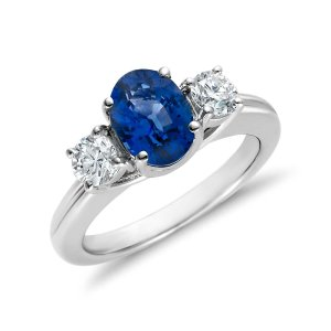 Sapphire and Diamond Ring in 18k White Gold (8x6mm) | Blue Nile