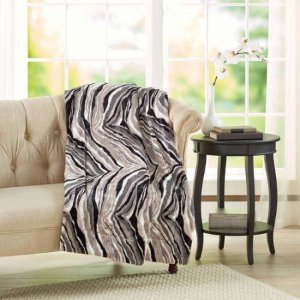Better Homes and Gardens Faux Fur Throw, Gray Zebra Color