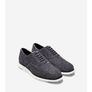 ZEROGRAND Wingtip Oxfords in Black-Optic White | Cole Haan