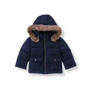 Baby Boy Navy Hooded Puffer Coat at JanieandJack
