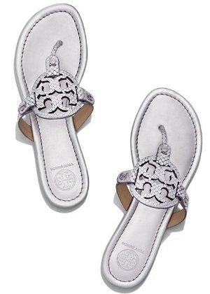 Miller Sandal, Metallic Snake-print Leather
