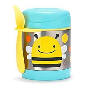 Skip Hop Baby Zoo Little Kid and Toddler Insulated Food Jar and Spork Set, Holds 325 mL / 11 fl oz , Multi Brooklyn Bee