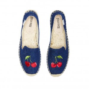 Soludos Cherry Dark Blue Smoking Slipper for Women - Soludos Espadrilles