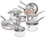 T-fal C836SD Ultimate Stainless Steel Copper-Bottom Heavy Gauge Multi-Layer Base Cookware Set, 13-Piece, Silver: Kitchen & Dining