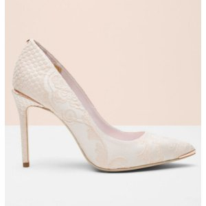 Jacquard pointed court shoe - Nude Pink