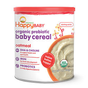 Happy Baby Oatmeal Organic Probiotic Baby Cereal - 7 Ounce - Happy Baby - Babies