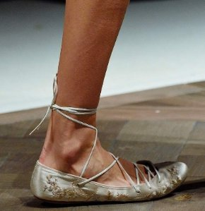 Etro Embroidered Satin Lace-up Ballerinas