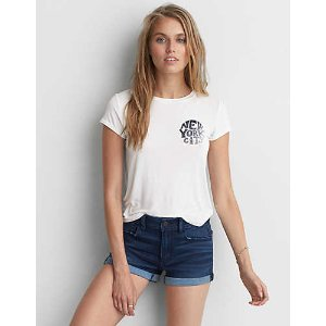 AEO Soft & Sexy Graphic T-Shirt, Natural White | American Eagle Outfitters