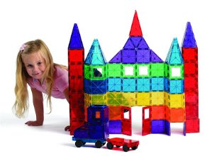 Playmags 100-Piece Clear Colors Magnetic Tiles Deluxe Building Set with Car & Bonus Bag