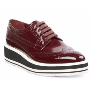 Prada Patent Leather Brogue Platform Oxfords