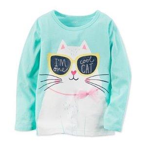 Carter's Long-Sleeve Graphic Cat T-Shirt, Toddler Girls (2T-4T) - Carter's - Kids & Baby - Macy's