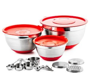 Chef's Star Professional 17 Piece Stainless Steel Mixing Bowl Set with Anti-Slip Silicone Base