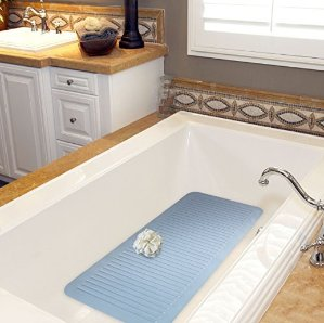 Clean Healthy Living Blue Bath Tub Mat - Large 29 1/2 x 13 1/2 in. long