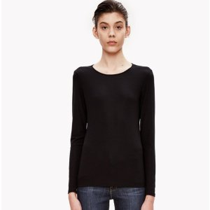 Ribbed Knit Crew Neck Tee