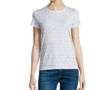 rag & bone/JEAN Base Short-Sleeve Jewel-Neck Tee, White Print