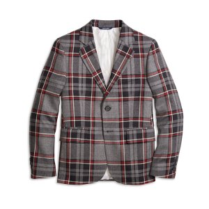 Boys' Two-Button Charcoal Plaid Wool Suit Jacket | Brooks Brothers