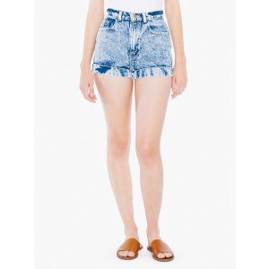 Acid Wash High-Waist Jean Cuff Short | American Apparel