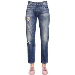 LEVI'S VINTAGE CLOTHING - 505 DESTROYED COTTON DENIM JEANS - JEANS - BLUE - LUISAVIAROMA