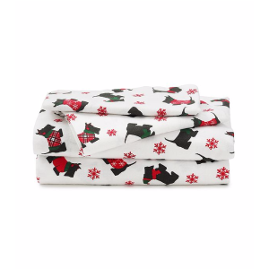 LivingQuarters Heavy-Weight Scottie Dogs Flannel Sheet Set | Bon-Ton