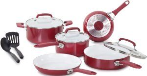 $56.43 WearEver Pure Living Nonstick Ceramic Coating Scratch-Resistant PTFE PFOA and Cadmium Free Cookware set, 10-Piece, Red
