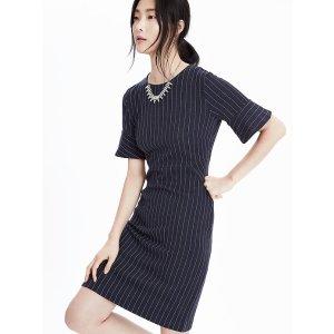 Ponte Pinstripe Dress