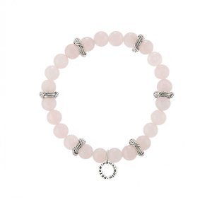 Explorer Bead Bracelet in Rose Quartz and sterling silver