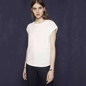 TIMOTHY Cotton T-shirt with braided details - T-shirts - Maje.com