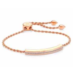 Monica Vinader Linear Diamond Chain Bracelet/Rose Goldtone