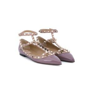 Valentino Garavani Rockstud Leather Ballerinas - Biondini Paris - Farfetch.com