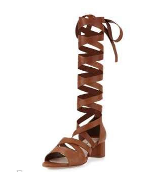 Miu Miu Leather Ankle-Wrap Gladiator Sandal, Cuoio @ Neiman Marcus