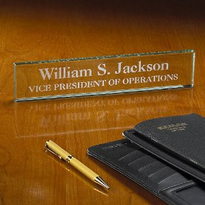Personalized Executive Beveled Glass Desk Nameplate, Engraved - Walmart.com