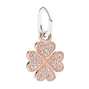 Rue La La — PANDORA Symbol of Lucky in Love 14K Rose Gold Plated & Silver CZ Clover Charm