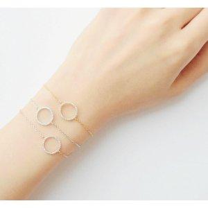 Gold Circle Charm Bracelet