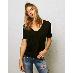 Don't Ask Why Deep-V T-Shirt, Black | American Eagle Outfitters