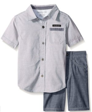 Calvin Klein Boys' 2 Piece Set-Chambray Button Down Shirt with Short