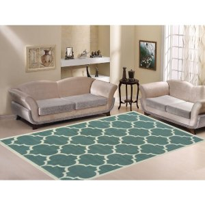 Paterson Collection Contemporary Moroccan Trellis Design Sage Green 5 ft. x 7 ft. Area Rug