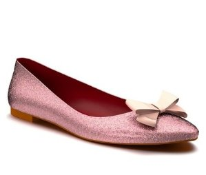 Shoes of Prey Glitter Bow Ballet Flat