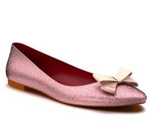 Shoes of Prey Glitter Bow Ballet Flat