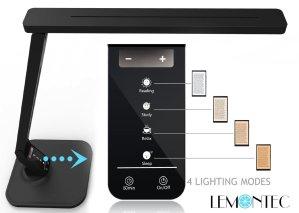 LED Desk Lamp, Lemontec LED Table Lamp Eye-caring LED Lamp (12W, Dimmable, Touch Control, 5 Color Modes, USB Charging Port) Black 2 Pack