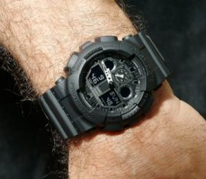 Casio G-Shock Analog Digital World Time Black Dial Men's Watch GA100-1A1