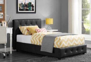Dakota Faux Leather Upholstered Bed & Mattress Bundle, Black, Multiple Sizes