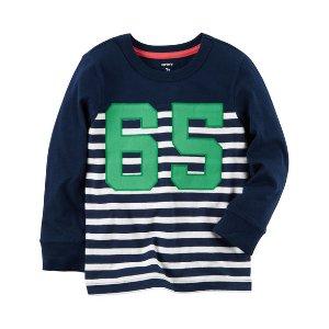 Baby Boy Long-Sleeve Striped Varsity Tee | Carters.com