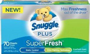 Snuggle Plus Super Fresh Fabric Softener Dryer Sheets 70 Count